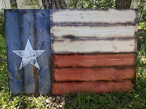 Wooden Rustic-Style Texas Flag (Medium