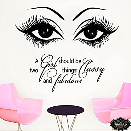 fb9cffdd8e9 Image Unavailable. Image not available for. Color: Wall Decal Eyelashes  Decal Eyebrows Decal Lashes Decal Beauty Salon Decal Customized Decals 15l