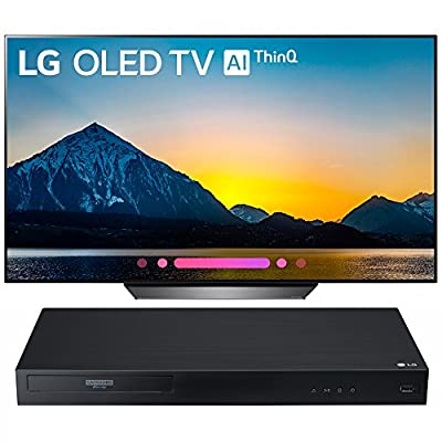 "LG 55"" Class B8 OLED 4K HDR AI Smart TV 2018 Model (OLED55B8PUA) with LG Streaming 4k Ultra-HD Blu-Ray Player with Dolby Vision"