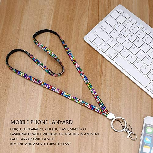 CamKpell Unisex Rhinestone Crystal Bling Custom Neck Lanyard /& ID Badge Cellphone Key Holder Ring for Casual Sport