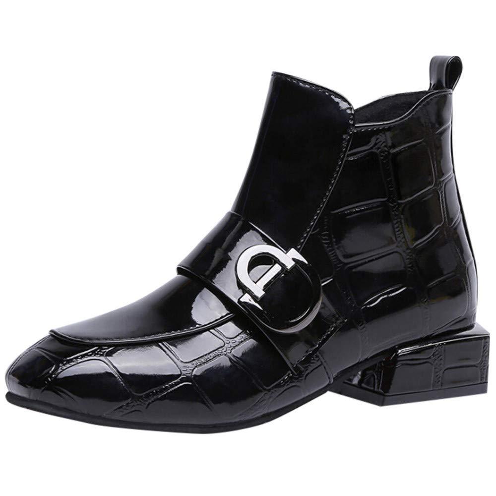 OHQ Botas Martin Zapatos De Punta Redonda De Mujer De Charol Transpirable Taló N Cuadrado