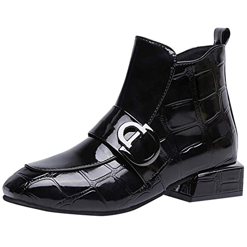Zapatos de Mujer Botines Cortos Botas, LANSKIRT Mujer Zapatos de Punta Redonda Cuero Botines Calzado de Trabajo Transpirable Botas de Tacón Cuadrado ...