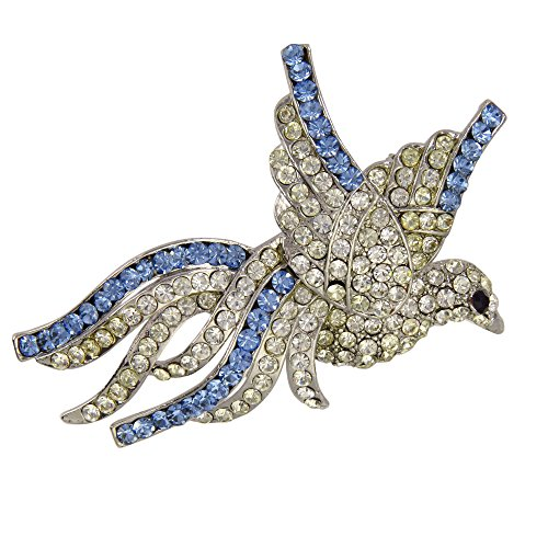 Charming Flying Dove Brooch Crystalized with Swarovski Elements