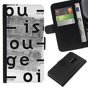 Stuss Case / Funda Carcasa PU de Cuero - Cartas Periódico retro impresión blanca - LG G2 D800