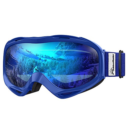 OutdoorMaster OTG Ski Goggles - Over Glasses Ski / Snowboard Goggles for Men, Women & Youth - 100% UV Protection (Blue Frame + VLT 38.2% Blue Lens with Full REVO Blue) (Snowboard Bag Pink)
