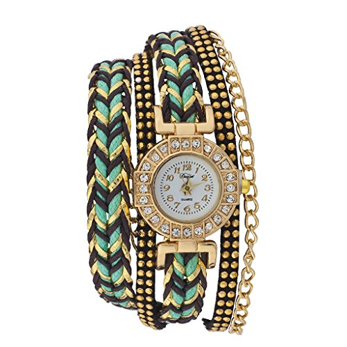 Lux Accessories Gold Tone Green Black Braided Studded Suede Multi Wrap Watch