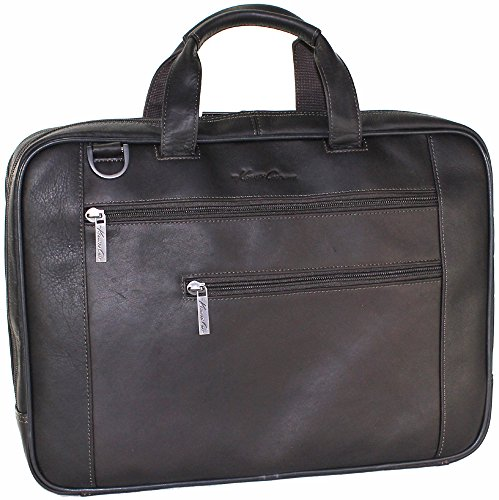 Kenneth Cole Colombian Leather Slim Double Gusset Top Zip Briefcase Chocolate (Kenneth Cole New York Luggage)