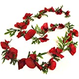 6m Guirlande Coquelicot, fleurs artificielles–Fleurs décoratives Rouge Flamme
