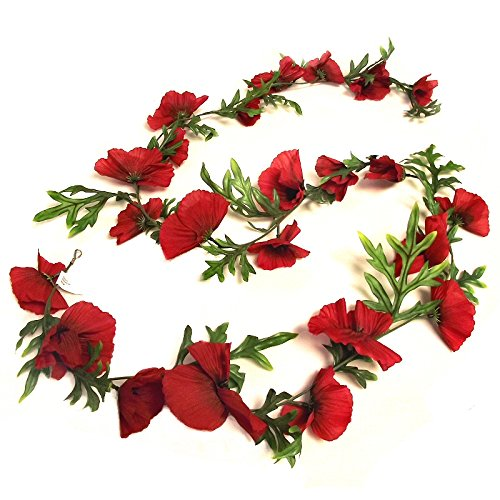 6ft Artificial Poppy Flower Garland - Flame Red Decorative Flowers CB