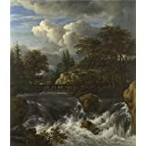 polyster Canvas ,the High Definition Art Decorative Prints on Canvas of oil painting 'Jacob van Ruisdael A Waterfall in a Rocky Landscape ', 20 x 23 inch / 51 x 59 cm is best for Home Theater decor and Home decoration and Gifts