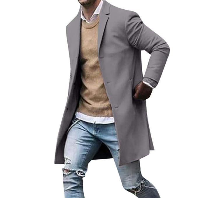 erster Blick gut kaufen outlet FIRSS Herren Mantel Knopf Trenchcoat Herbst Winter Einfarbig Langarm Anzug  Jacke Revers Schlank Lange Outwear Slim Fit Wintermantel