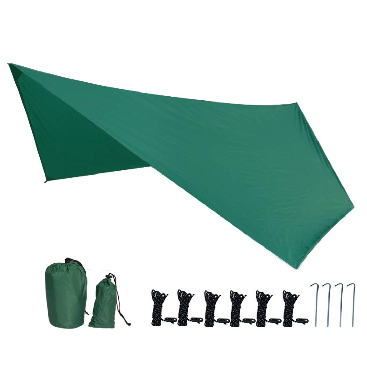 TRIWONDER Waterproof Hexagonal Hammock Rain Fly Tent Tarp Footprint Ground Cloth Camping Shelter Sunshade Beach Picnic Mat for Hiking Picnic (Dark Green+Accessories (Upgrade) - XXL) by TRIWONDER
