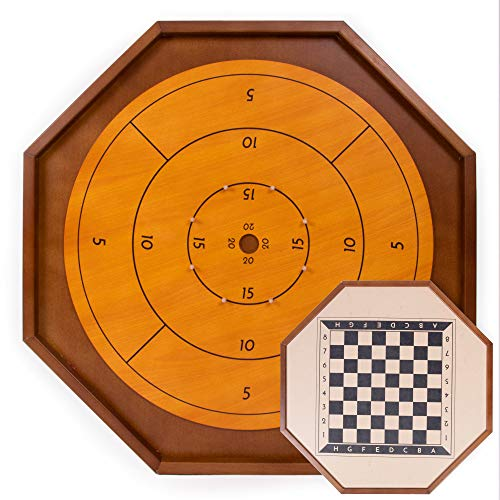 Crokinole, 27-Inch | Genuine, Classic Board Game for Two Players | Canadian Heritage Game Great for Families and Friends | Includes 24 Black and White Discs and Game Board