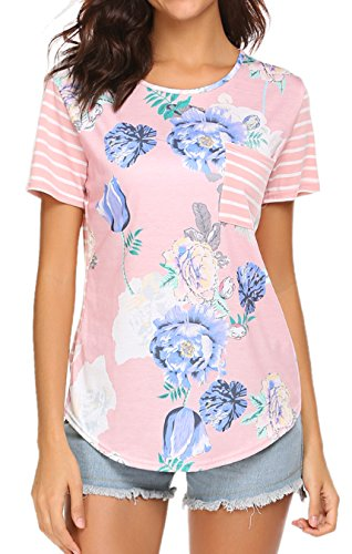 LuckyMore Women's Casual Short Sleeve Raglan Floral Striped Pocket T-Shirt Tops Pink,M (Floral Pink Top Shirt)