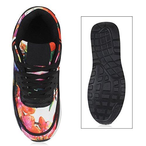 Stiefelparadies Trendige Unisex Schuhe Damen Herren Kinder Sportschuhe Metallic Camouflage Turnschuhe Blumen Sneaker Low Bunt Glitzer Muster Schnürer Flandell Schwarz Bunt