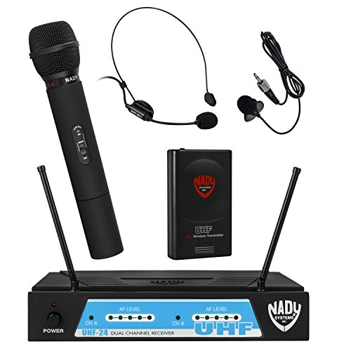 Nady UHF-24 Handheld/Lapel/Headset Microphone Dual Wireless System with True Diversity - 3 Microphone Bundle (UH-4 + LM-14 + HM-3) ()