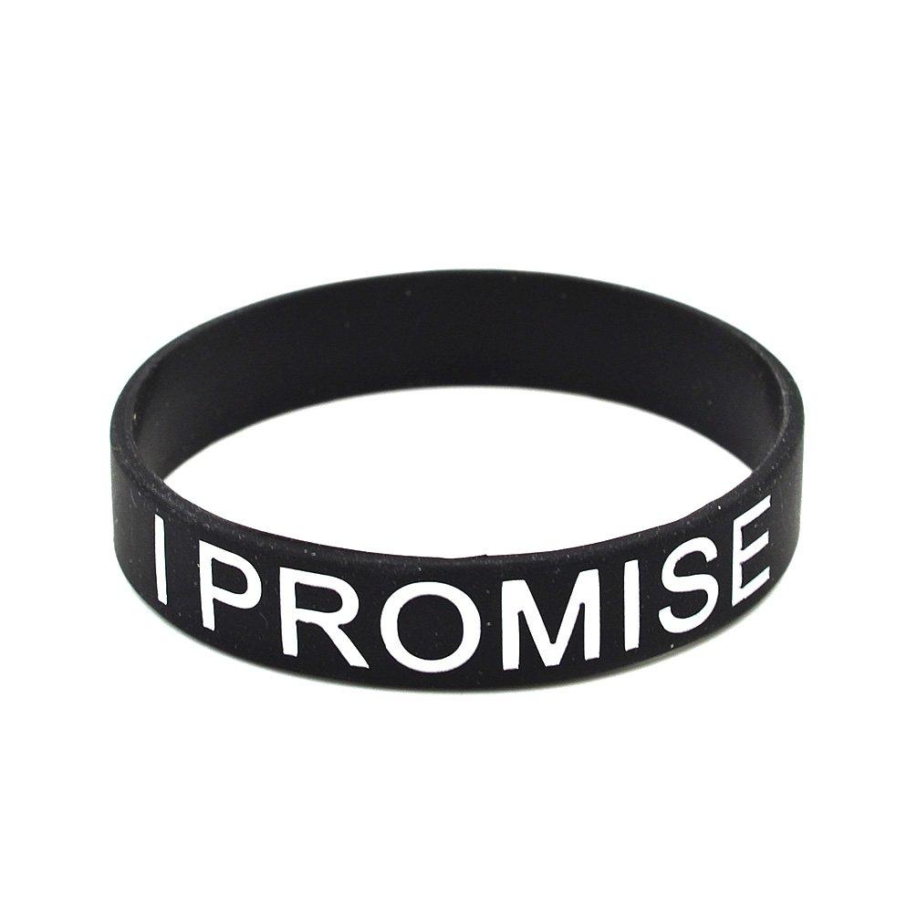 Lychee Black I Promise Printed Silicone Wristband