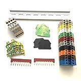 Every Color DIN Rail Terminal Block Kit Dinkle 20 DK4N 10 AWG Gauge 30A 600V Ground DK4N-PE Jumper DSS4N-10P End Covers End Brackets