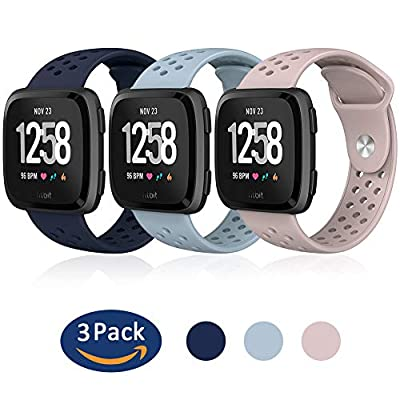 Hagibis Compatible Fitbit Versa Bands Sport Silicone Replacement Breathable Strap Bands New Fitbit Versa Smart Fitness Watch … (G-3 Pack)