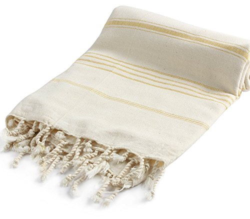 Pestemal Turkish Bath Towels 37×70 %100 CottonTM by Cacala Natural Gold