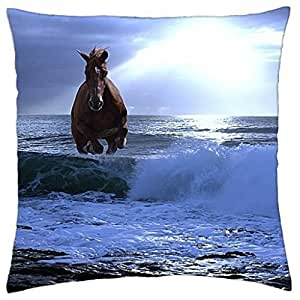 horse in sea at sunset - Throw Pillow Cover Case (18