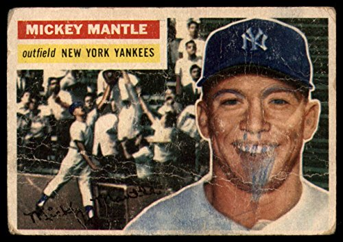 1956 Topps # 135 GRY Mickey Mantle New York Yankees (Baseball Card) (Grey Back) Dean's Cards 1 - POOR Yankees
