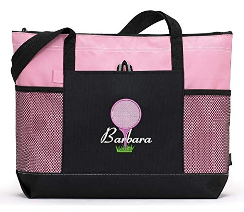 Golf Personalized Embroidered Tote Bag with Mesh Pockets