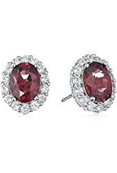 Rhodium Plated Sterling Silver Gemstone and Created White Sapphire Oval Halo Earrings