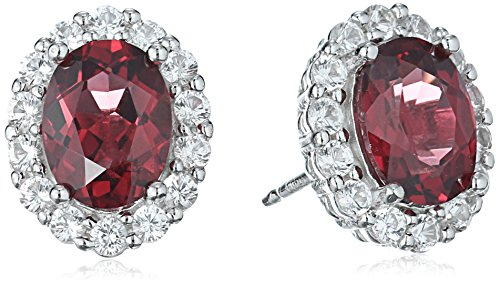 Rhodium Plated Sterling Silver Oval Rhodolite 8x6mm and Created White Sapphire Stud Earrings