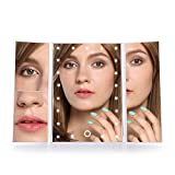 MelodySusie Lighted Vanity Makeup Mirror - Trifold Touch Screen with 21Pcs LEDLights, 1x/2x/3x Magnification and Dual Power Supply, 90° Adjustable Stand for Countertop Cosmetic Makeup