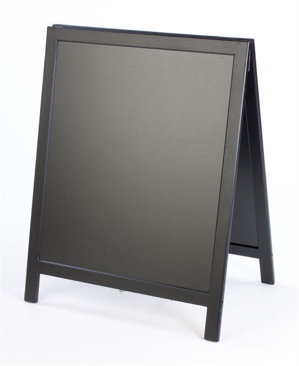 "Chalkboard Sidewalk Sign, Double-Sided A-Frame Blackboard with 24""w x 28""h Writing Area – Black Finish Wood Frame Displays2go"