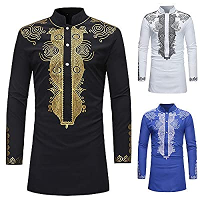 2019 Latest Hot Style!!! Teresamoon Men's Autumn Winter Luxury African Print Long Sleeve Dashiki Shirt Top Blouse