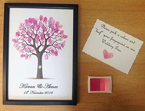 Fancy Pants Frame (Personalised Wedding Tree Guest Book Alternative Wishing Tree - with frame and ink pad - PINK by Fancy Pants Store)