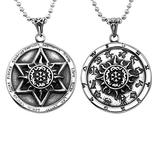HERLANKKI Star of David Zodiac Symbols Necklace Hexagram Signs Amulet Titanium Steel Pendant Jewish Religious
