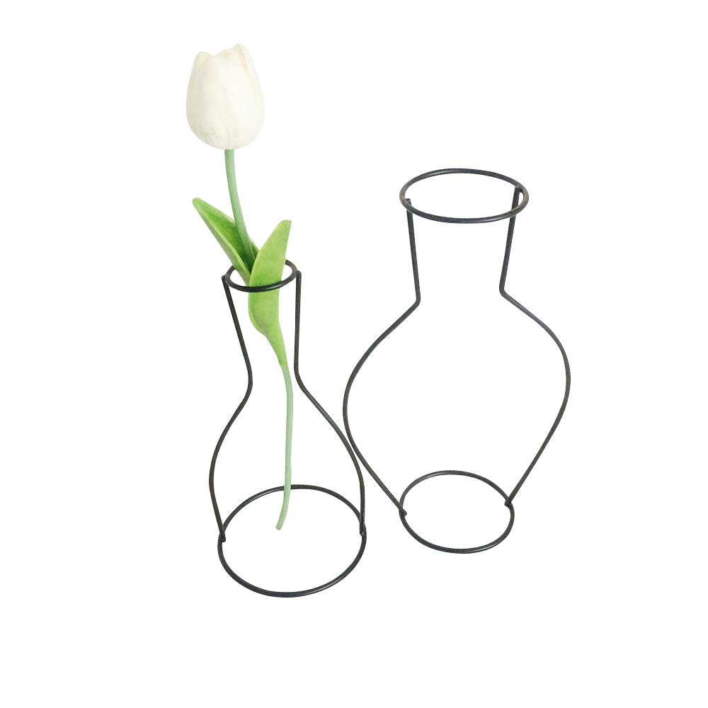 2-set Minimalist Metal Vase, Black Line Abstract Geometric Frame 2D Drawing Cartoon Comic Display Rack Centerpieces Decor for Faux Real Flower Succulent-C and D by AceList