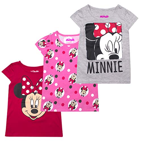 Disney Princess T-Shirts for Girls – 3 Pack Short Sleeve Graphic Tees 3T Grey -