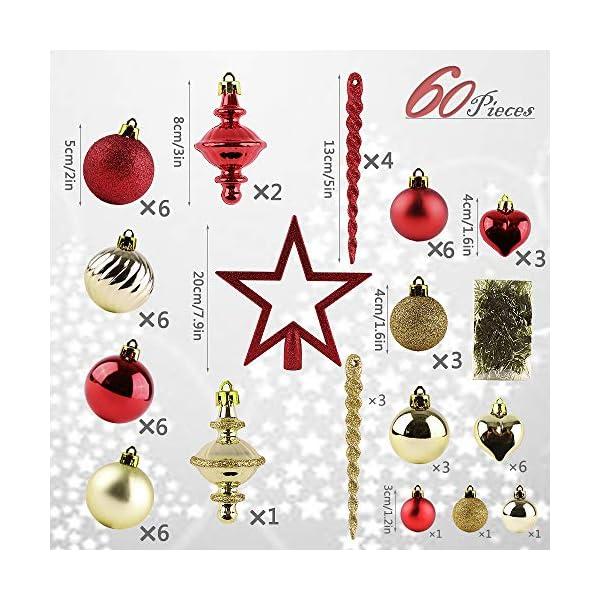 Valery Madelyn Palle di Natale 60 Pezzi di Palline di Natale, 3-5 cm di Lusso Rosso e Oro Infrangibile Ornamenti di Palla di Natale Decorazione per la Decorazione Dell'Albero di Natale 3 spesavip