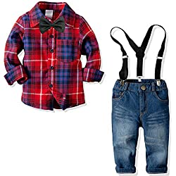 Yilaku Boys Long Sleeve Shirt+Denim Overalls Outfit Suits Bow tie Infant Gentleman Pants Set (Red Plaid 4-5T)