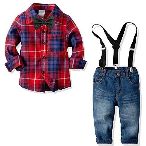 Yilaku Boys Long Sleeve Shirt+Denim Overalls Outfit Suits Bow tie Infant Gentleman Pants Set (3-4T)