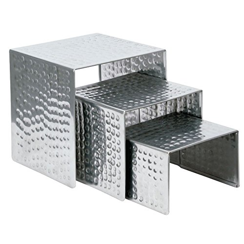Stainless Steel Riser Set - Nested Stainless Steel Display Risers With Hammered Finish - Set Of 3