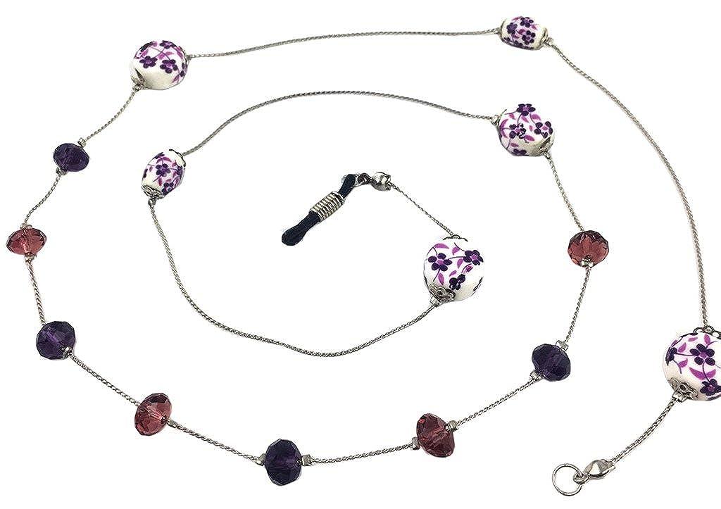 Ababalaya Vintage Strap Anti-Skid Floral Beads Cord Metal Sunglasses Thin Chain