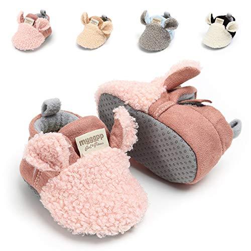 Baby Boys Girls Slipper Cozy Fleece Booties Non-Slip Bottom Winter Socks Unisex Pram Soft Sole Infant First Walker Crib House Shoes (12-18 Months M US Infant), C-Pink
