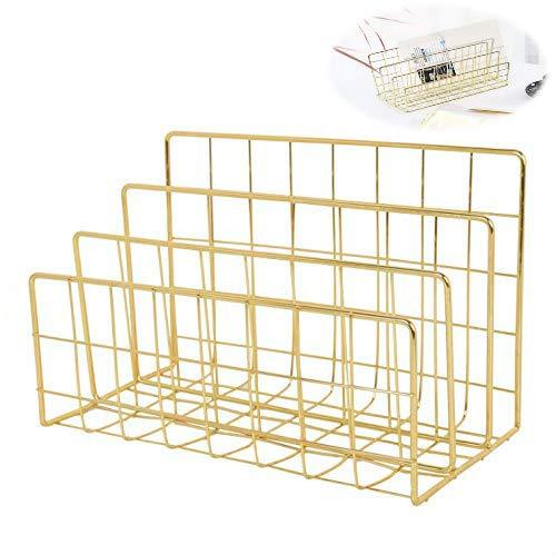 Magazine Rack Book Record Holder, 3 Slot Desktop File Sorter Organizer Rack, Metal Desktop Iron Storage Multifunction Organizer Decor Home Office (Gold)