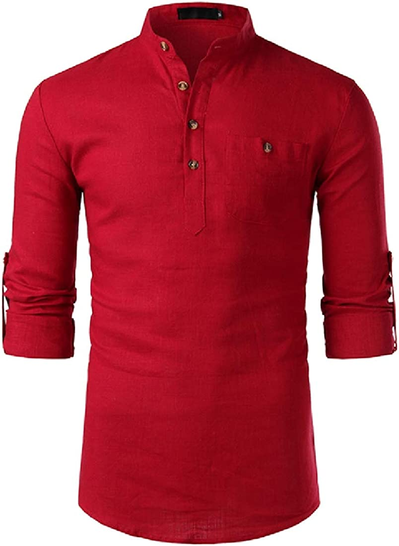 Domple Mens Pure Color Casual Button Up Trendy Stand Collar Button Down Shirts Tops