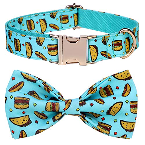 csspet Taco Hamburger Collars Bow Tie for Small Pet Cat and Dogs, Soft Comfortable Bowite, Pure Cotton Adjustable Collar]()
