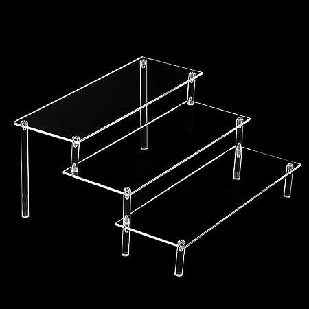 Bandeja rectangular de 3 niveles para servir, de acrílico transparente desmontable de tres niveles con estructura de escalera de juguete, soporte para cupcakes para mesa, gabinete, encimeras, No nulo, Transparente, Tamaño libre: