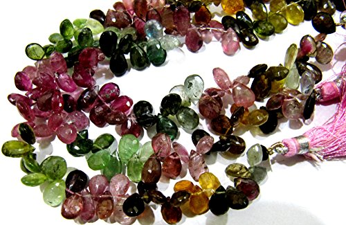 AAA Quality Multi Tourmaline Briolette Pear Shape Beads/Size 5x8mm to 5x9mm / Natural Tourmaline Flat Drops Beads Side Drilled- 8
