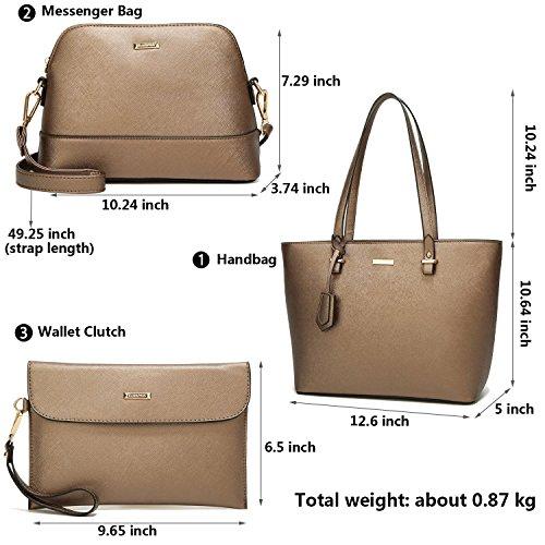 Titolare Borse Elimpaul Pezzi A Top Donna Da Bag Manici Sintetica Pelle In D'oro Tracolla Set Di Carta 4 HxHtnvwR