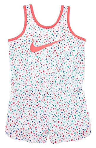Nike Little Girls' Dri-Fit Sport Essentials Romper (White(16D282-001)/Print/Pink, 12 Months)