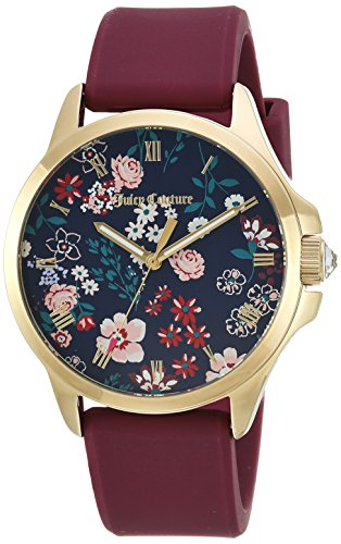 Juicy Couture Women's Quartz Gold-Tone and Silicone Casual Watch, Color:Red (Model: 1901620)